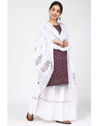 Wine Printed Cotton Sharara Set