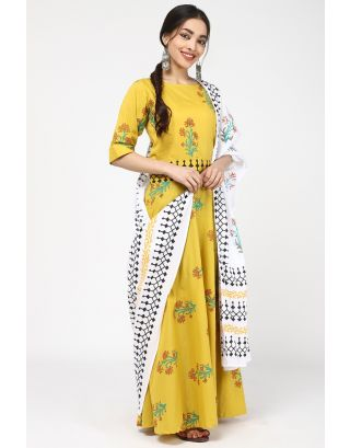 Spray Yellow Long Printed Dress