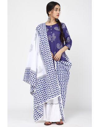 White & Blue Brag Sharara Set