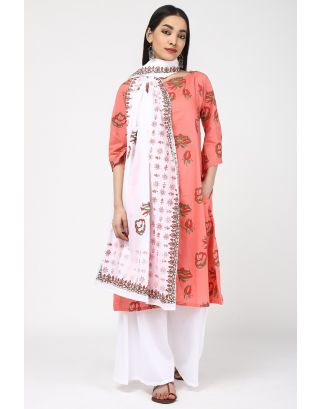 White Printed Cotton Dupatta