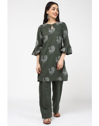 Green Peacock Printed Kurta  Pant