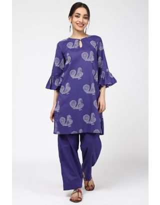 Blue Peacock Printed Kurta
