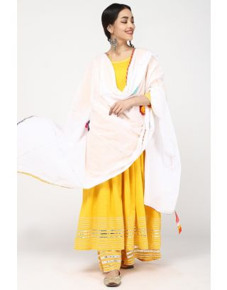 Yellow & White Anarkali Set
