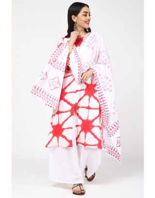 Ruby Red & White Printed Dupatta