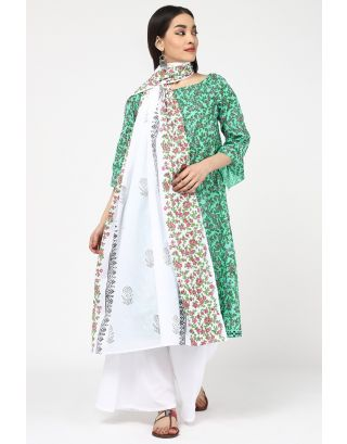Light Green & White Printed Dupatta