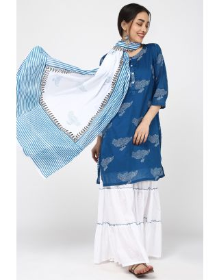 Blue Pigeon Printed Sharara Set