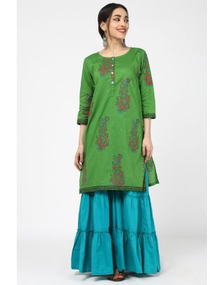 Green Flower Printed Kurta