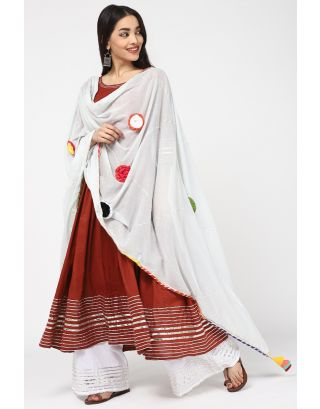 Red & White Cotton Anarkali Kurta Set