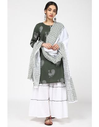 White & Green Bird Dupatta
