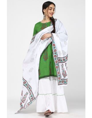 Green & White Flower Printed Sharara Set