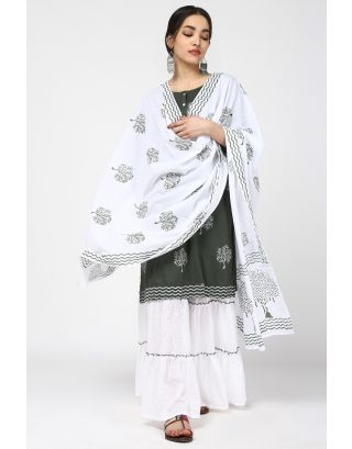 Green Tree Printed Sharara Set