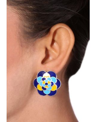 Blue and Yellow Flower Silver Earrings