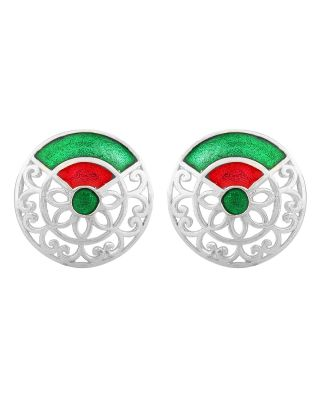 Green Red Round Silver Filigree Earrings