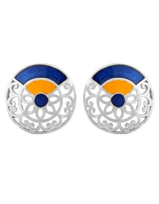 Blue Yellow Round Silver Filigree Earrings