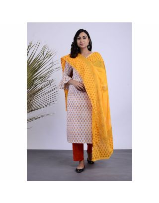 Yellow and White Hand Printed Kurta Pants Set with Dupatta