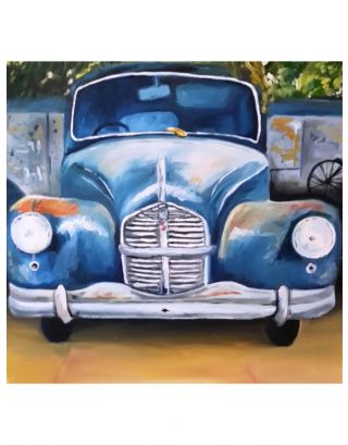Vintage Car Oil Canvas Painting