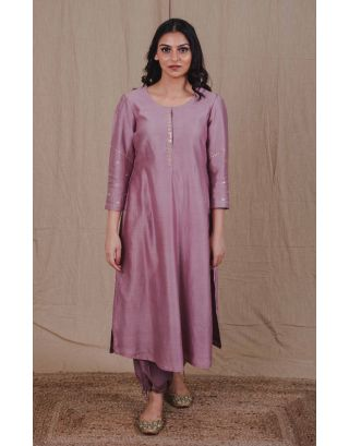 Mauve Straight Kurta  With Sequin Embroidery