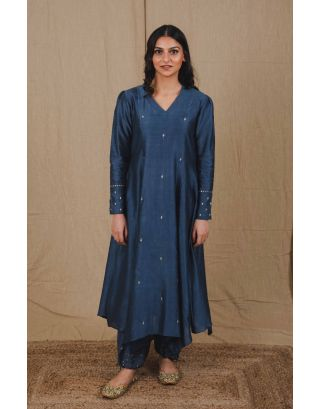 Blue Sequin Kurta Set