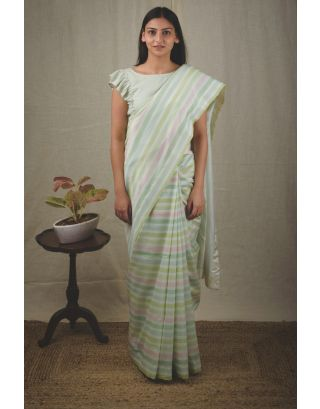 Green Striped Chanderi Saree