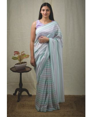 Sky Blue Striped Chanderi Saree