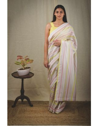 Yellow Striped Chanderi Saree
