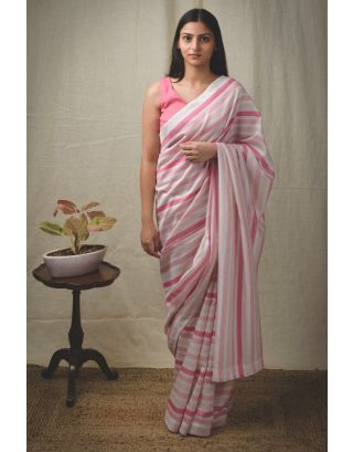 Carrot Red Striped Saree