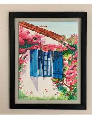 Santorini Window Watercolor painting