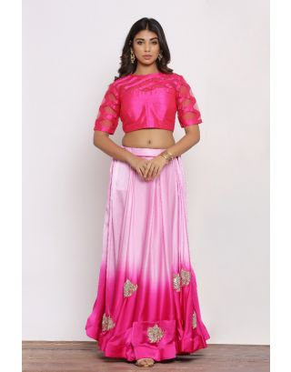 Pink  Set With Ombre Skirt