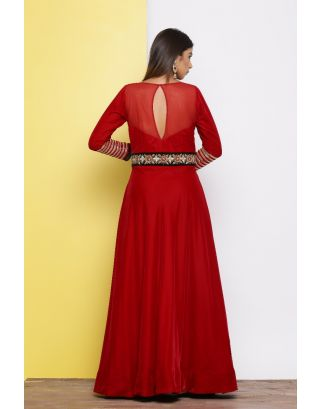 Red With Black Embroidered Waistband