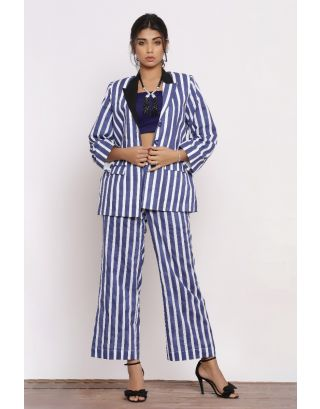 Blue Striped Blazer Set