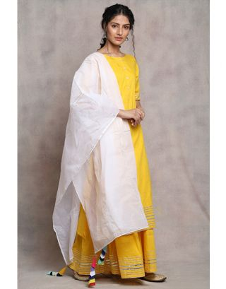Yellow and White Suit Set