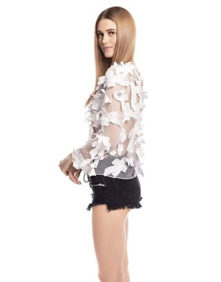 White Soft Net Applique Top