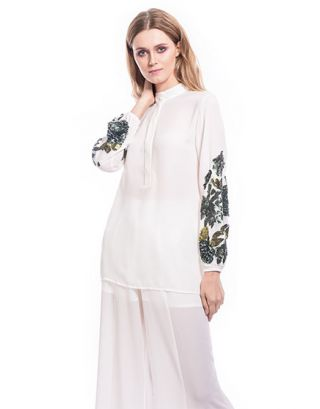 White Floral Sequin Tunic