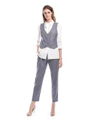 Grey And White Striped Suit Set