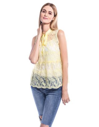 Yellow Lace Peplum Top