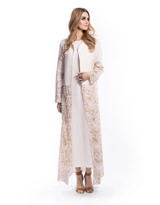 Beige Long Shrug With Inner