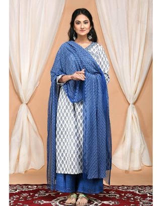 Blue Gathered Kurta with Embroidered Palazzo and Dupatta