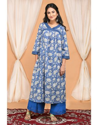 Blue Gathered Kurta with Embroidered Palazzo