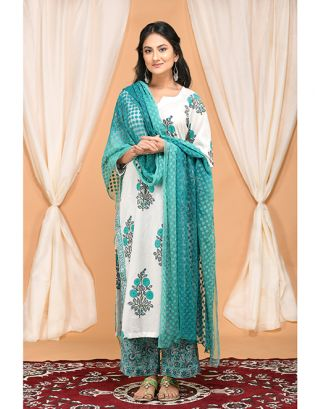 Turquoise Kurta Pants with Embroidered Dupatta