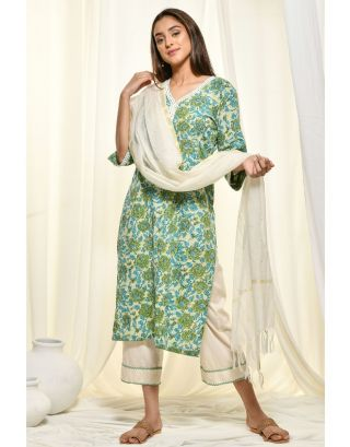Green Kantha Kurta Set