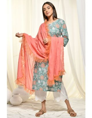 Teal Kurta with Scalloped Pants & Dupatta