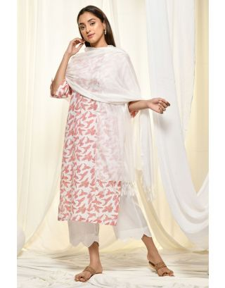 White Kurta Set With Dupatta