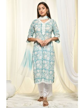 Sea Blue Kurta Set With Tye-Dye Dupatta