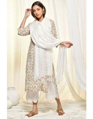 White Floral Kurta Set With Dupatta