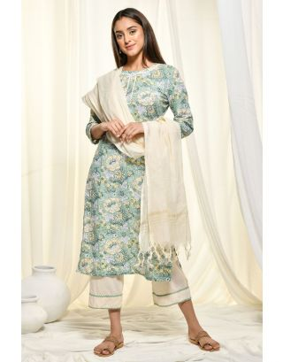 Green Kantha Kurta Set With Dupatta