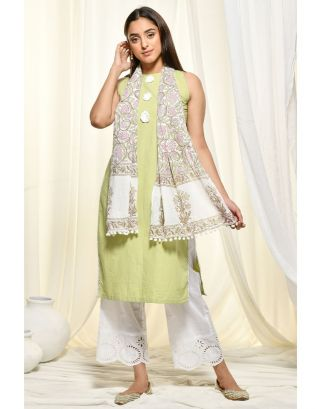 Grey Assymetrical Kurta with Tassel Pants