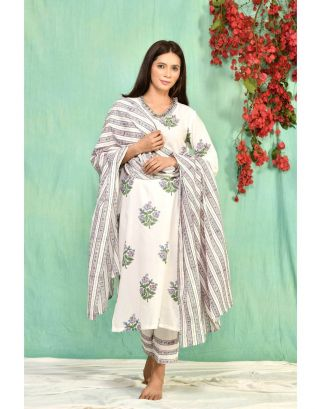 White Co-ord Set with Striped Dupatta