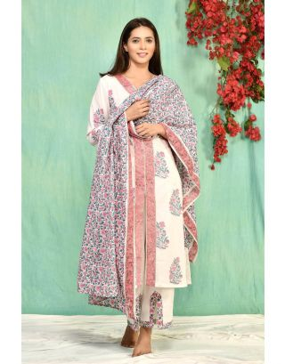 White Set with Palazzo and Jaal Dupatta