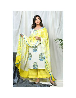 White and Yellow Kurta Set