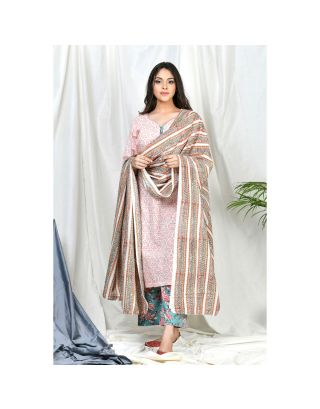 Kurta Set with Striped Dupatta